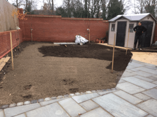 Groudworks levelling and new lawn laid